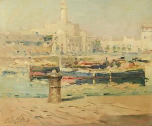 Lot 220: Gilbert Gaillant o/b, View of L'Amiraute d'Alger