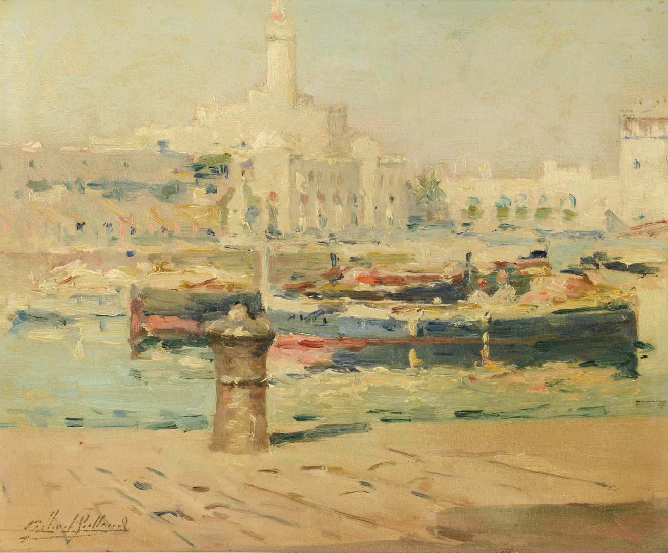 Lot 220: Gilbert Gaillant o/b, View of L'Amiraute d'Alger