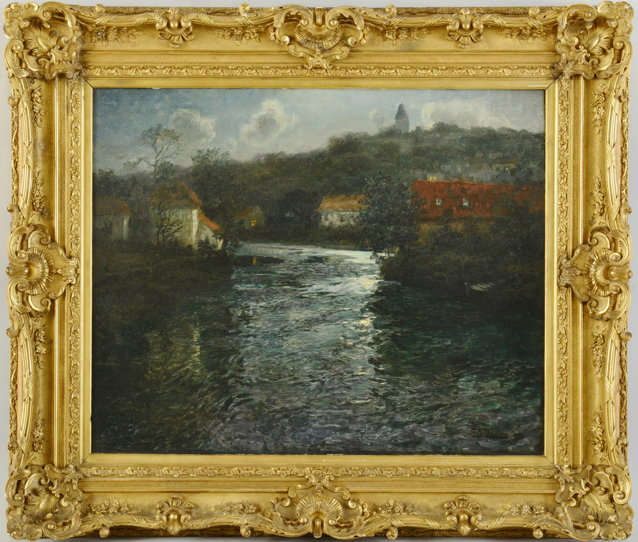 Lot 221: Frits Thaulow oil on canvas, Moonlit Canal