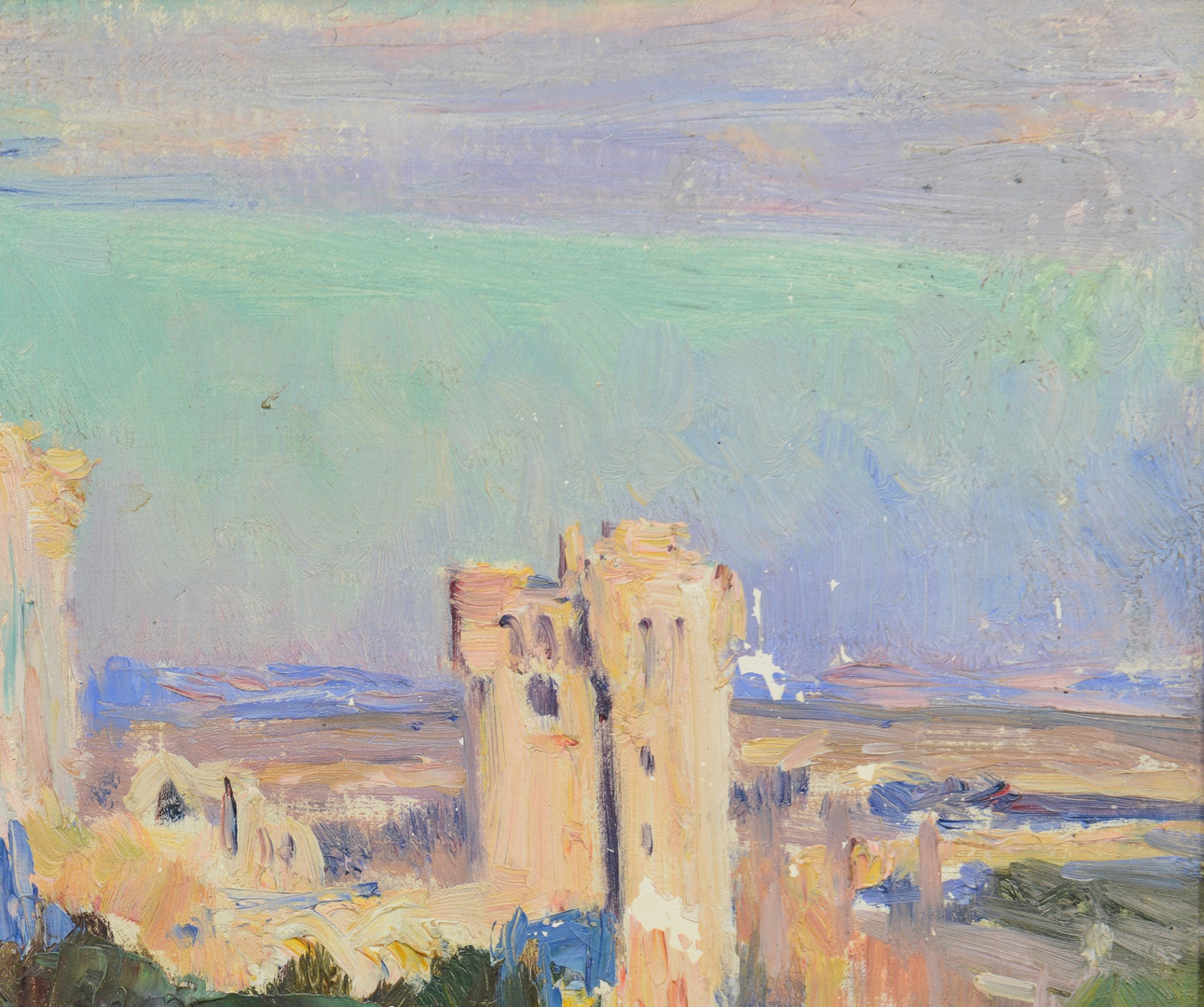 Lot 222: Louis Montagne o/c Landscape with ruins
