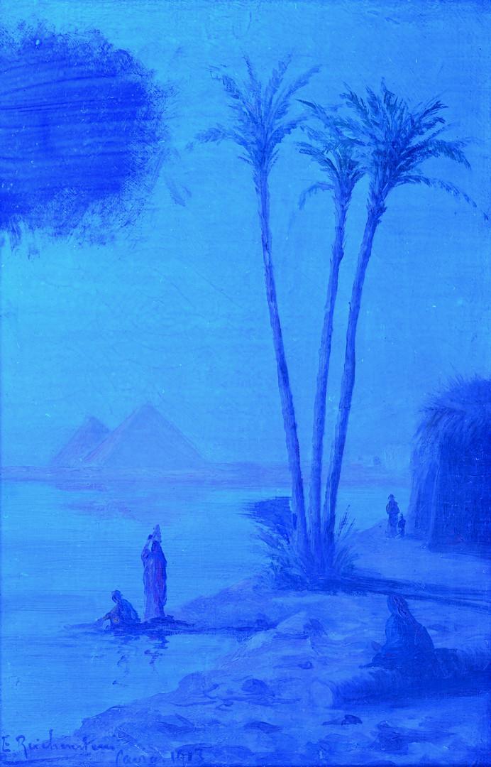 Lot 226: Orientalist o/c w/pyramids, 1913