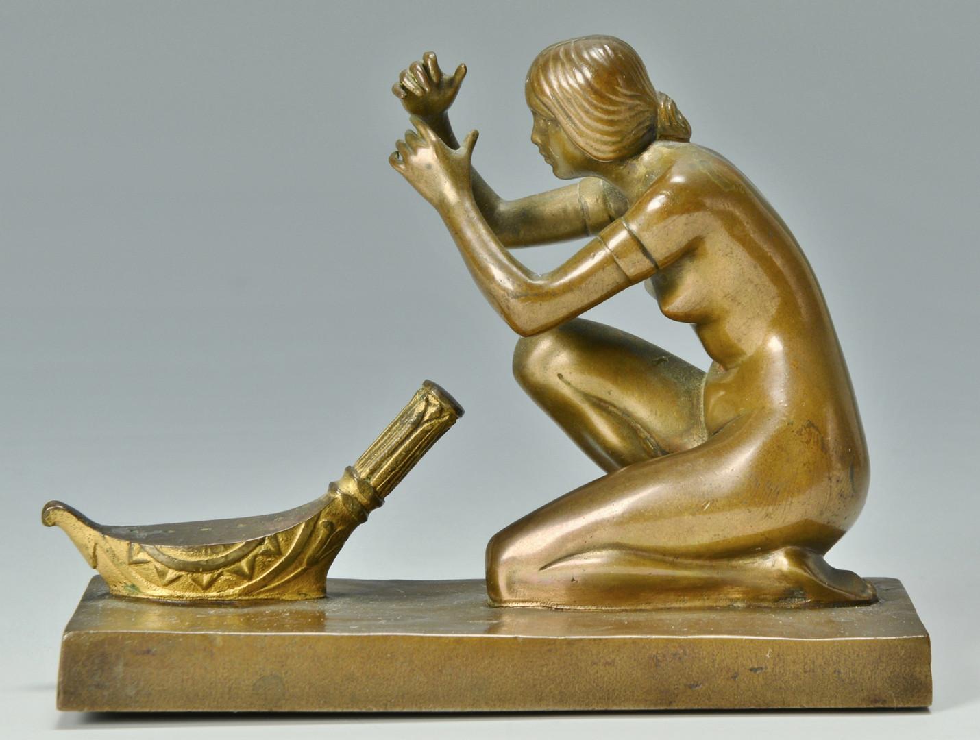 Lot 233: 2 Bronze Nudes w/ Harps