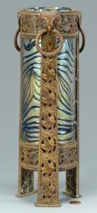 Lot 234: Bronze Mounted Art Glass, Owl decoration