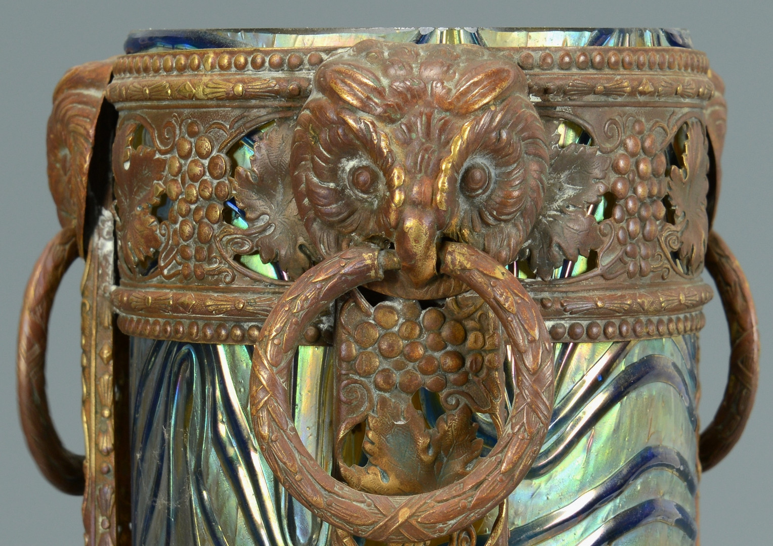 Lot 234: Bronze Mounted Art Glass, Owl decoration