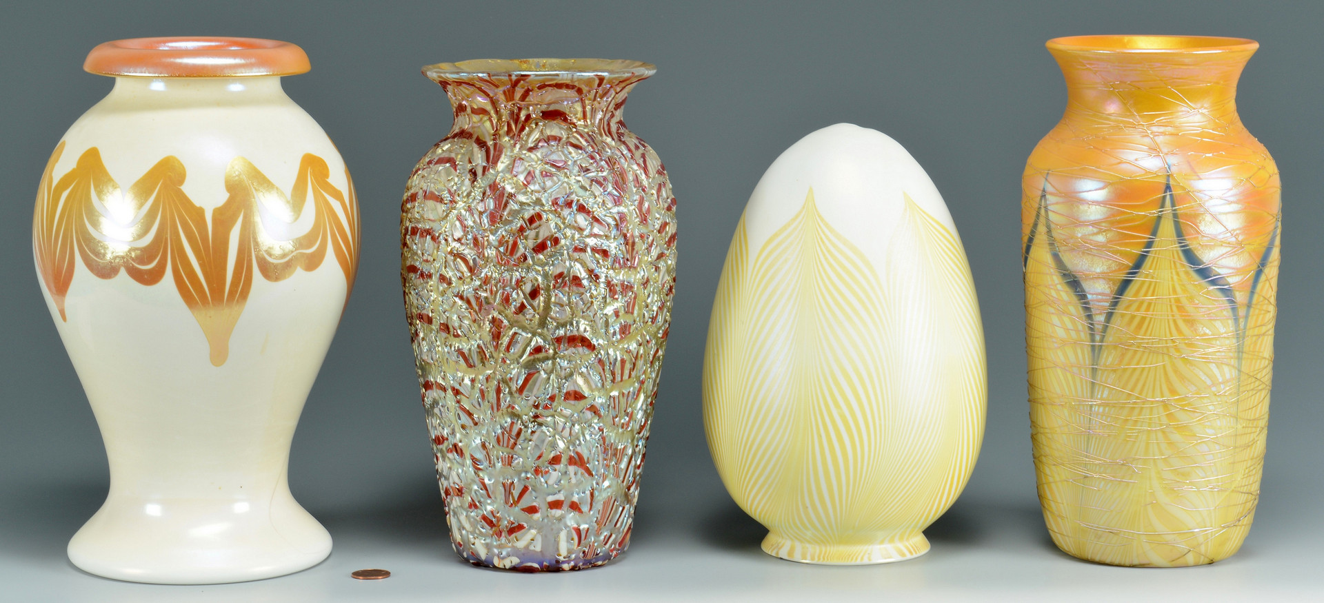 Lot 235: 4 Durand Art Glass Items, 3 vases
