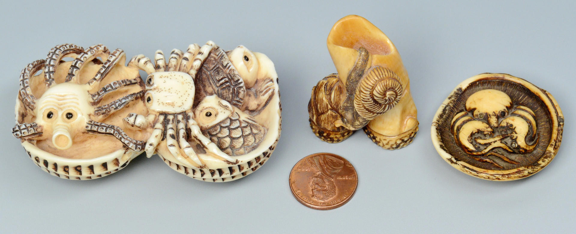 Lot 23: 3 Carved Japanese Ivory Netsukes