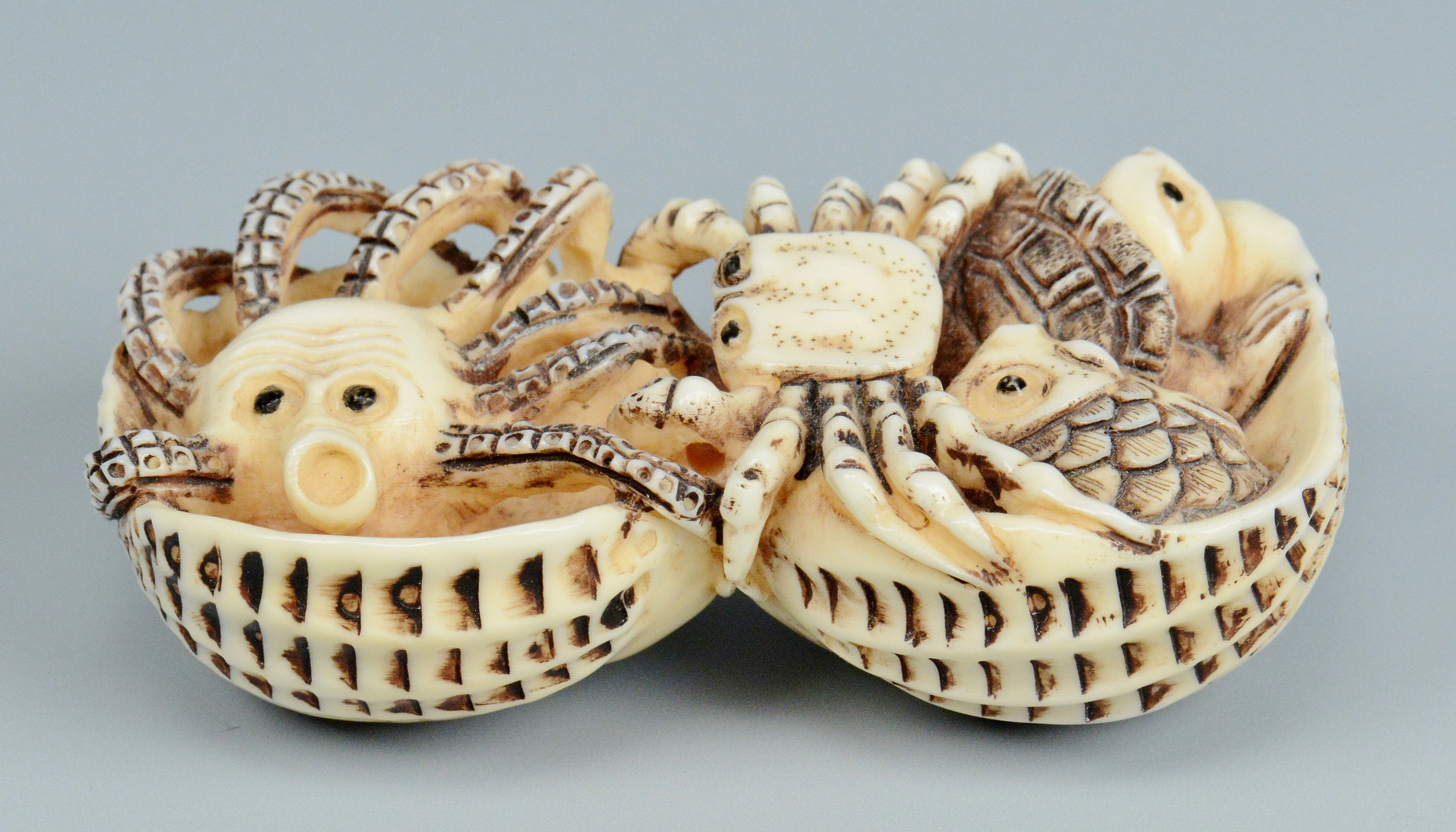 Lot 23: 3 Carved Japanese Ivory Netsukes