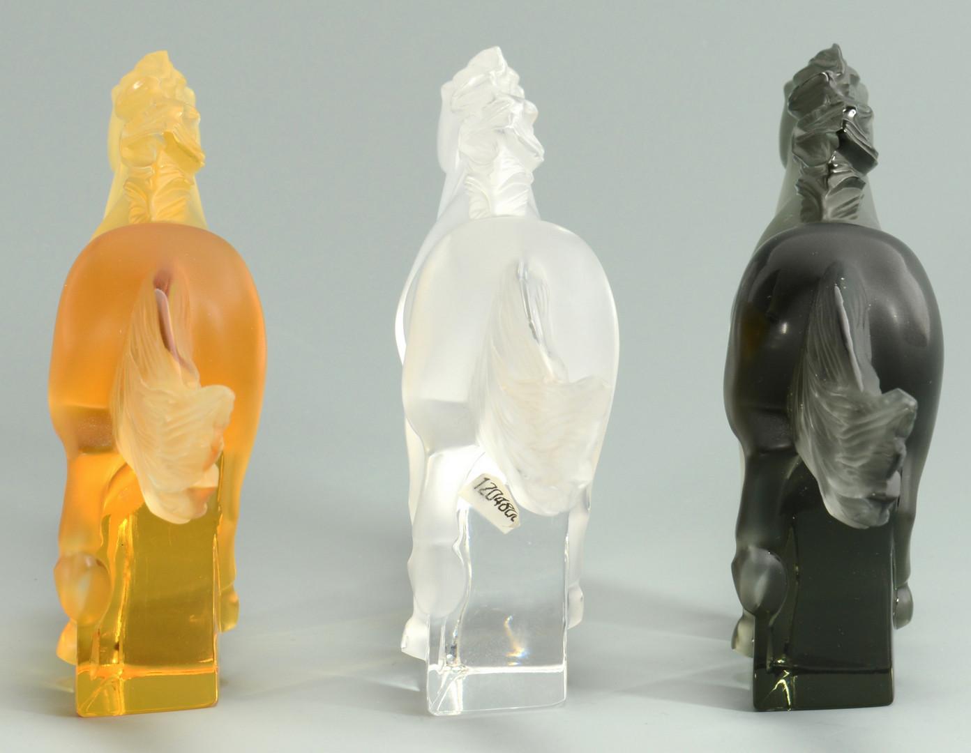 "Lot 240: 3 Lalique Crystal ""Kazak"" Horses"