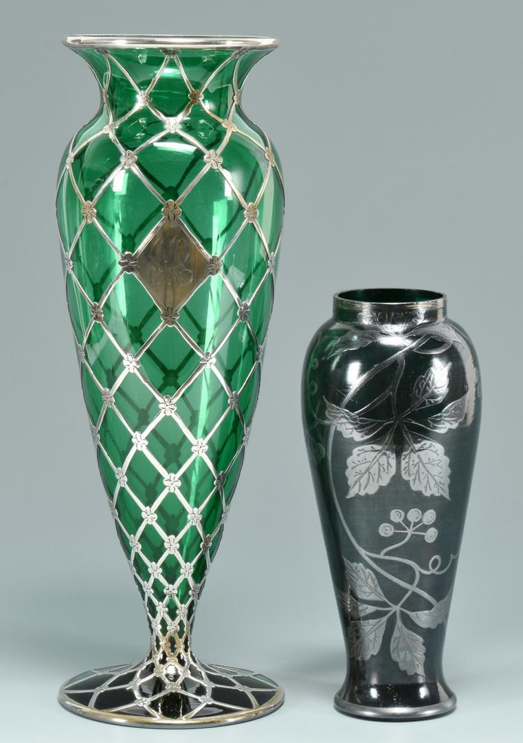 Lot 242 2 Art Glass Vases W Overlay