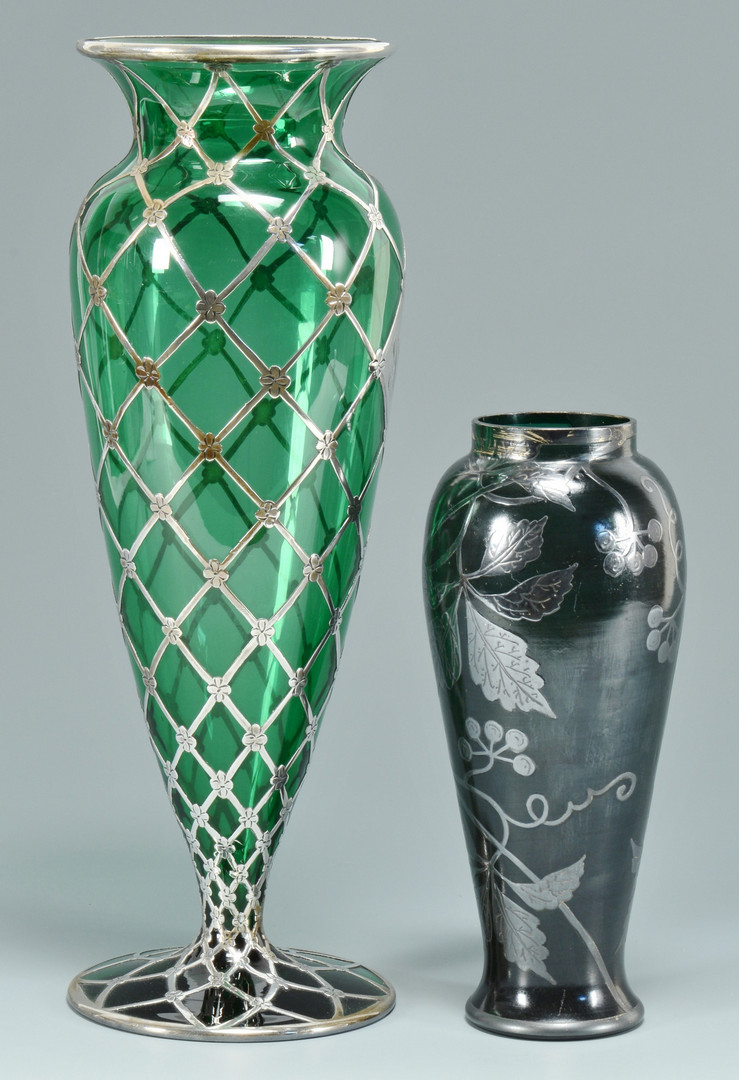 Lot 242 2 Art Glass Vases W Overlay