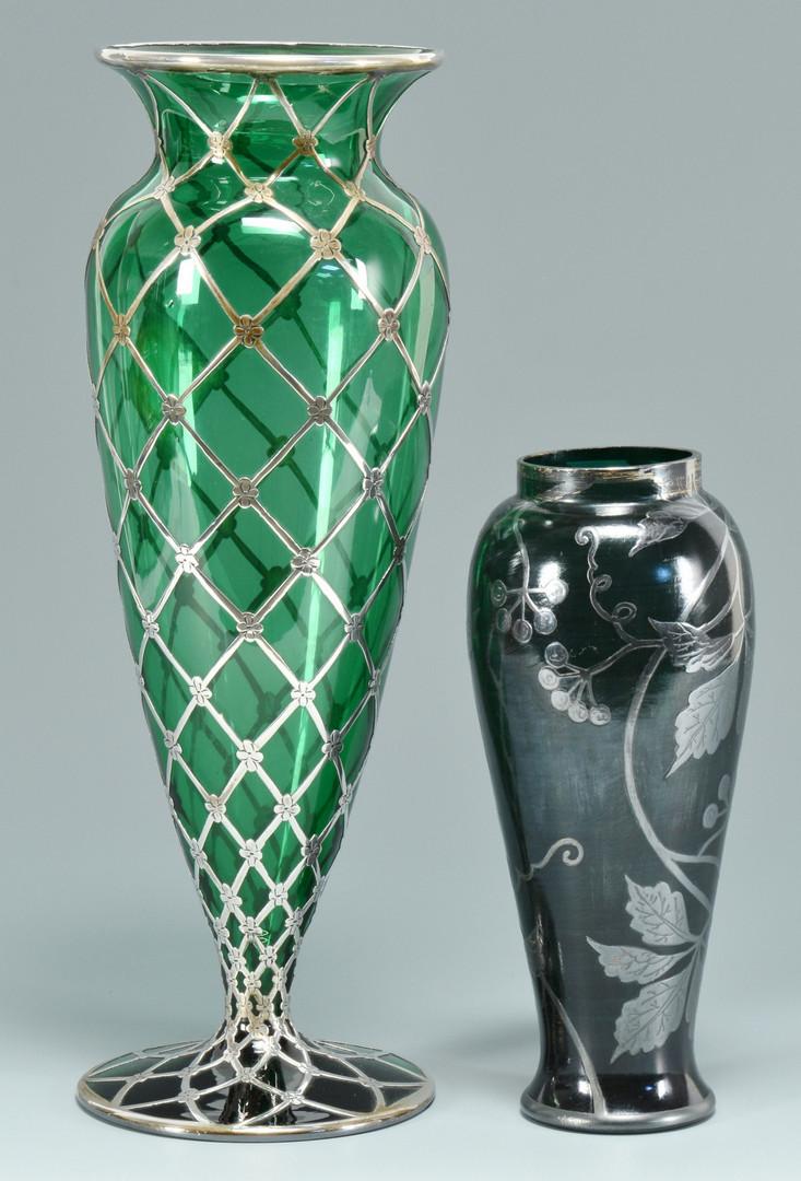 Lot 242: 2 Art Glass Vases w/ overlay