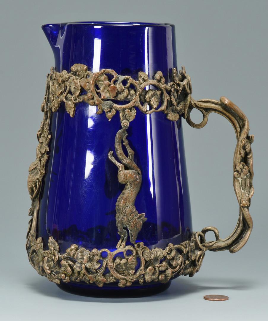 Lot 243: Bronze Mounted Art Glass Pitcher, Black Forest des