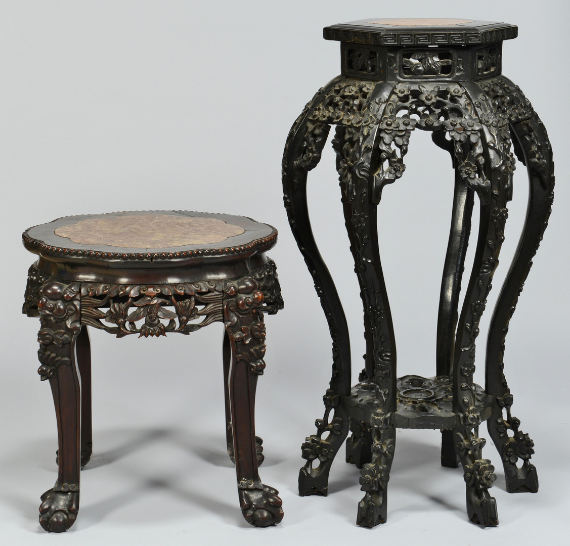 Lot 246: 2 Chinese Hardwood Stands