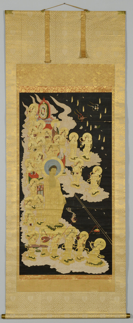 Lot 24: 19th c. Scroll Painting, Buddha at Festival Time