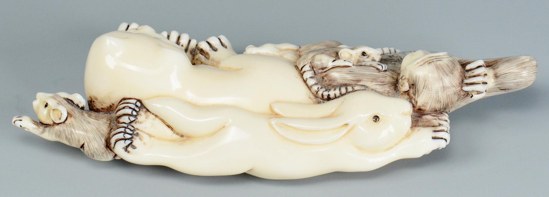 Lot 250: 3 Carved Japanese ivory Netsukes