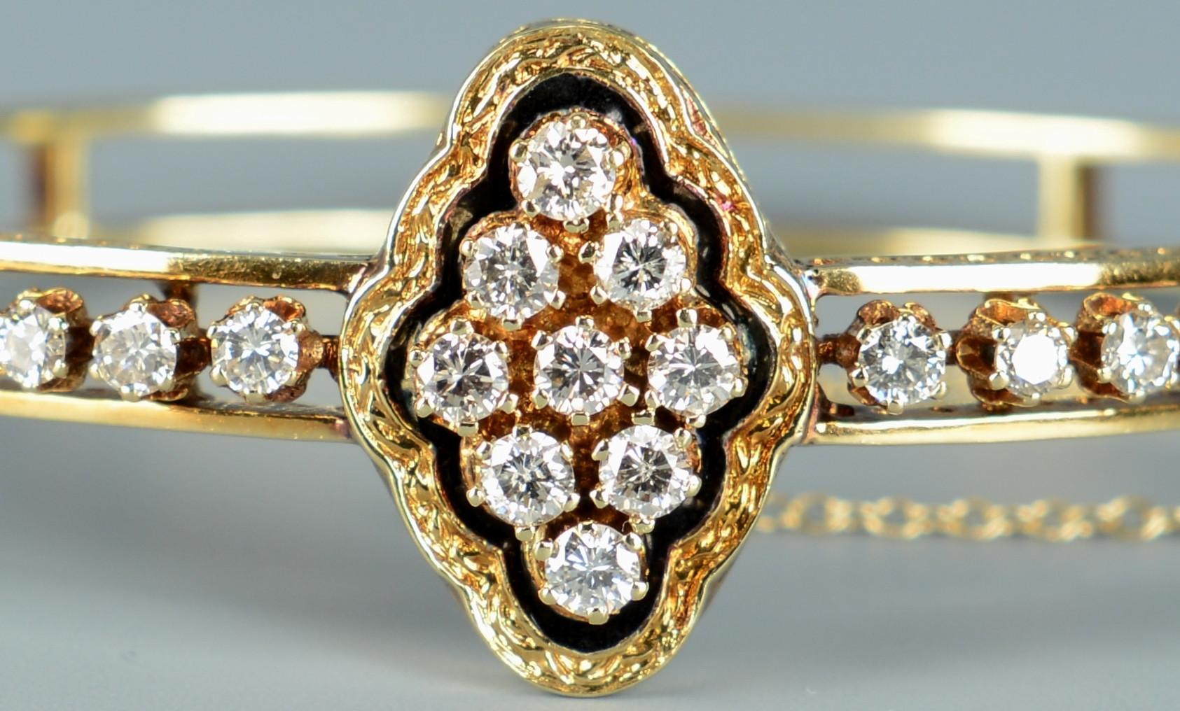 Lot 257: 14k Victorian Diamond Bangle Bracelet