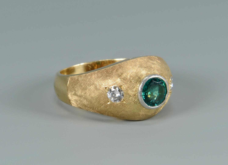Lot 259: 14k Emerald and Diamond Ring