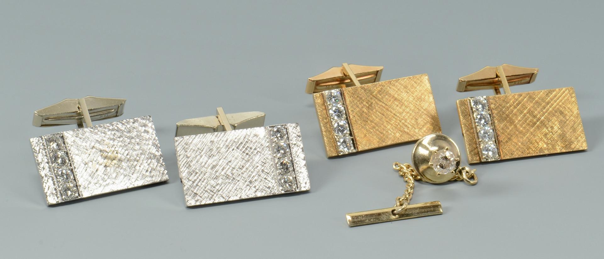 Lot 261: 14k Diamond Cufflinks, Tie Tack
