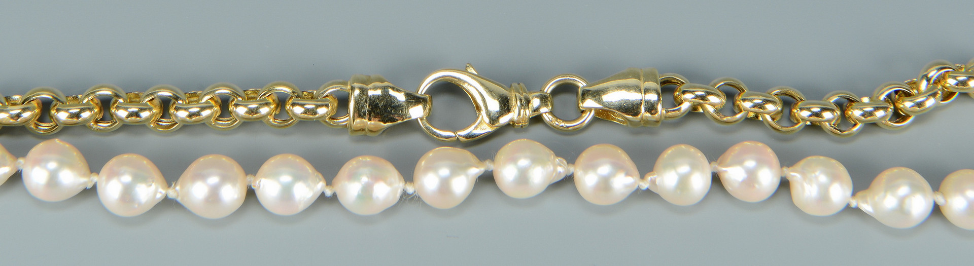 Lot 265: Two 14k and Pearl Necklaces