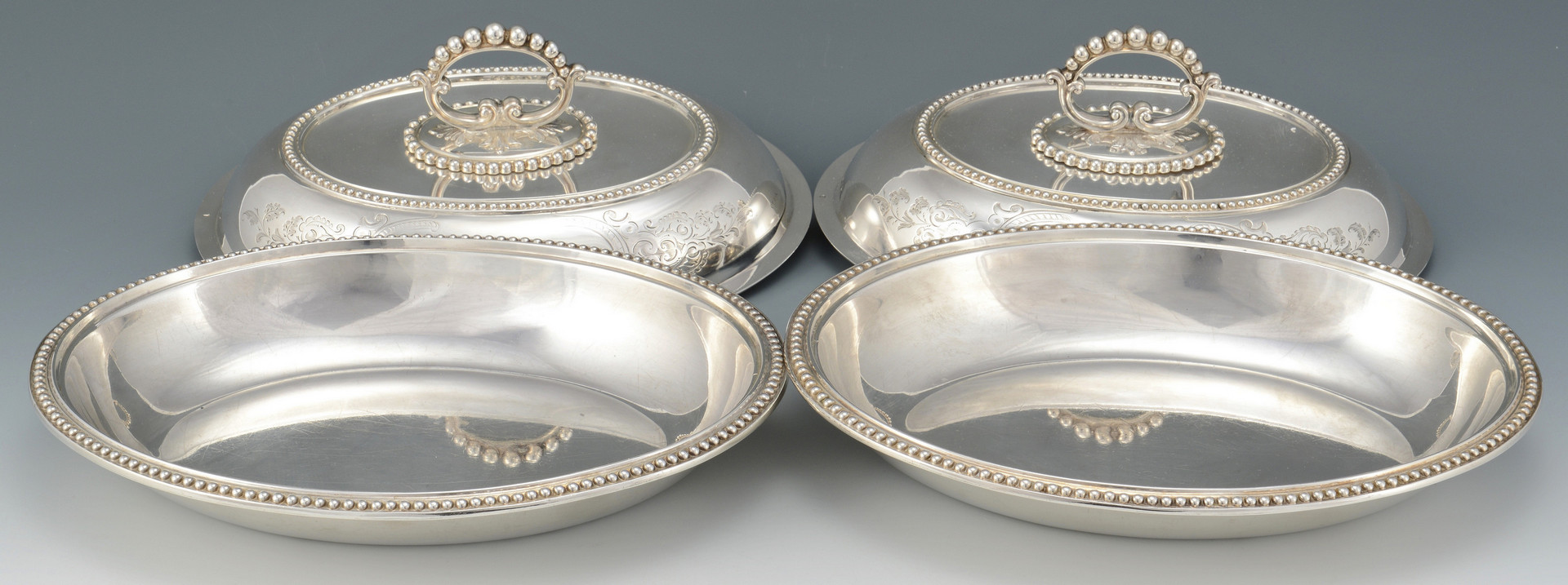 Lot 272: Pair Victorian Sterling Entree Dishes