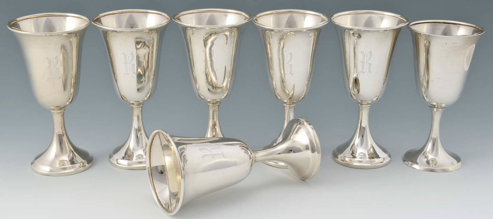 Lot 276: Grouping of 13 Sterling Goblets