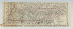 Lot 286: Tennessee Railroad Map, 1873