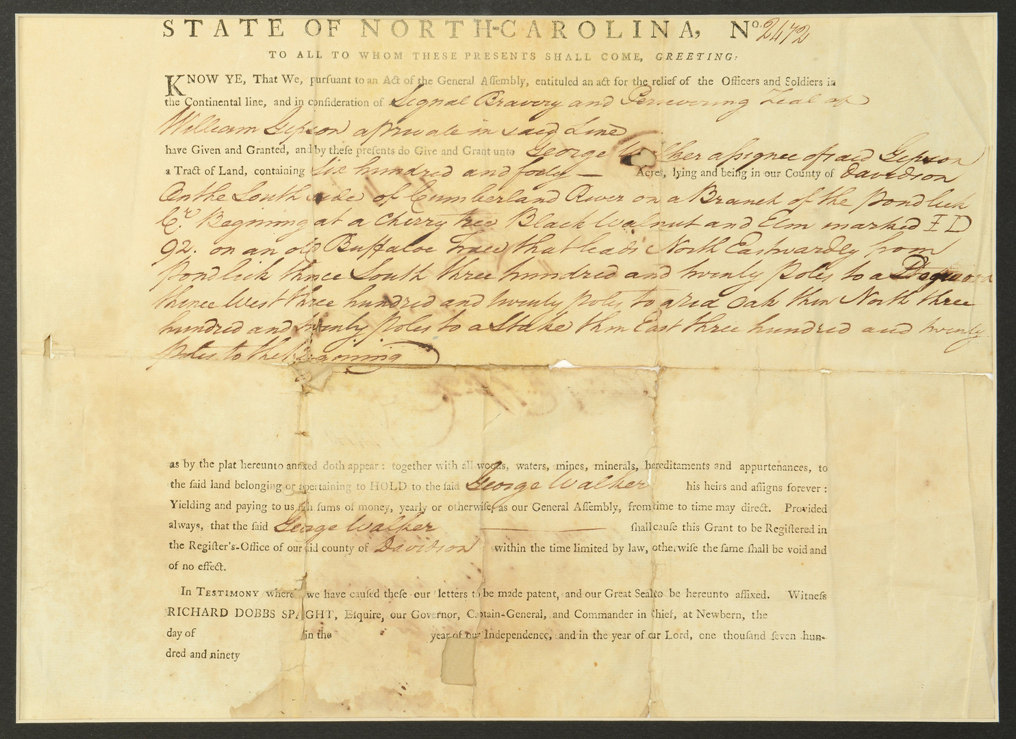 Lot 288: 1790 Nashville TN Land Grant & Survey Map
