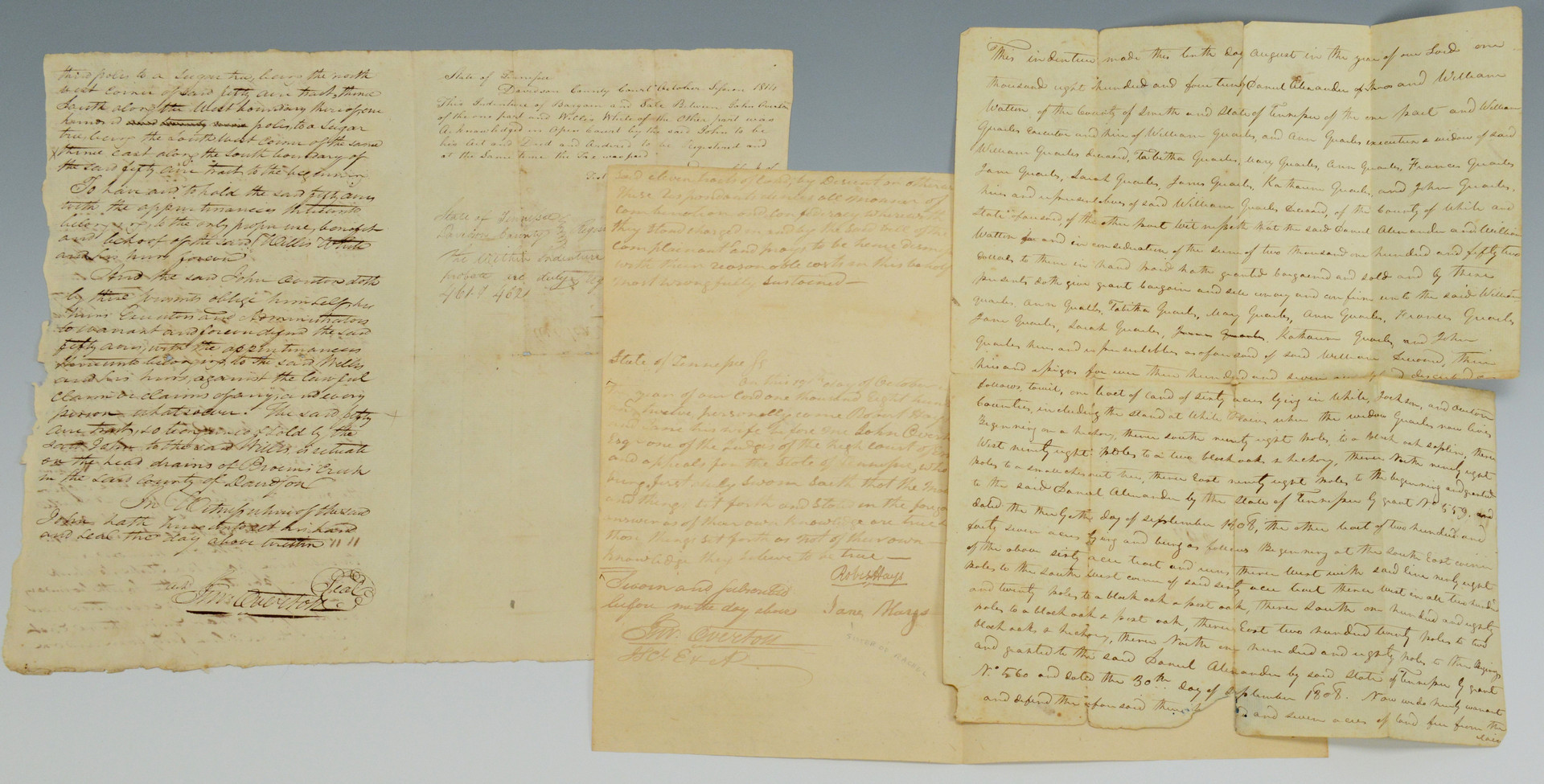 Lot 290: 3 John Overton signed documents