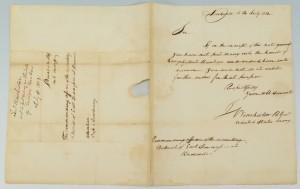 Lot 291: Gen. James Winchester signed letter