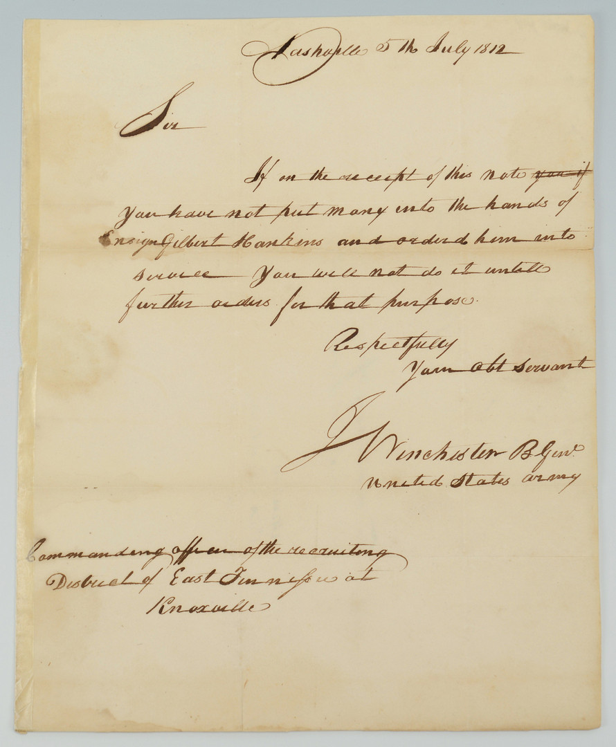 Lot 291: Gen. James Winchester signed letter