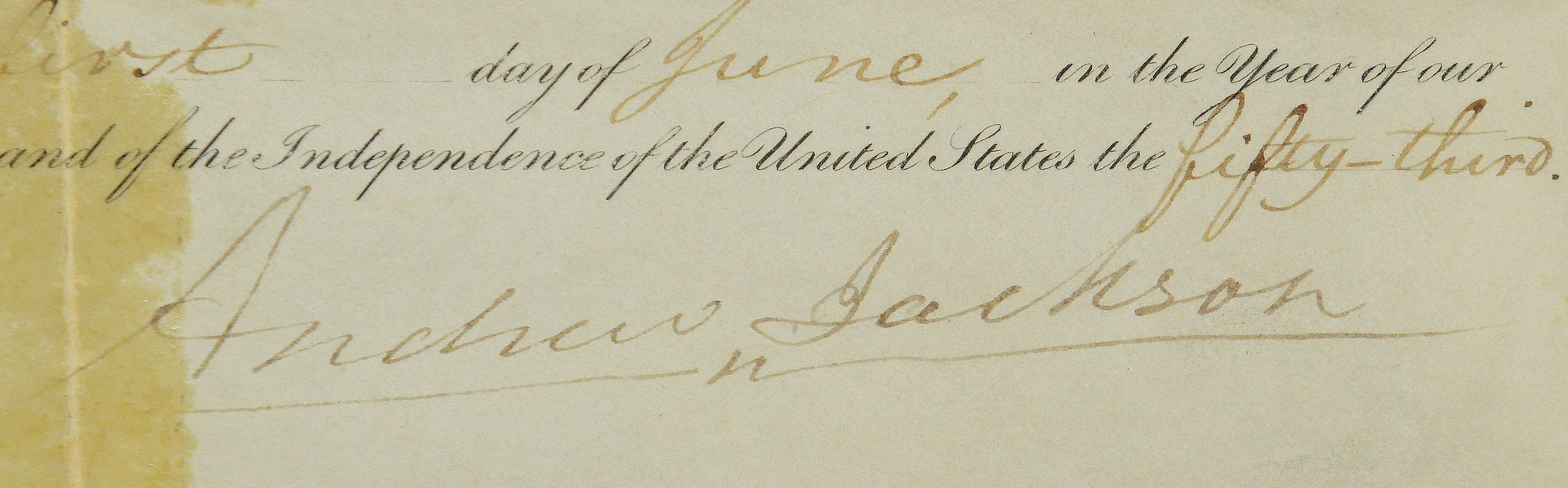 Lot 292: Andrew Jackson signed grant & print