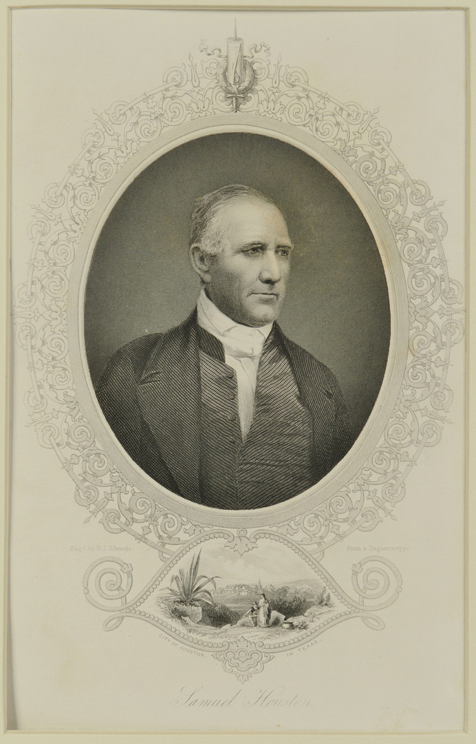 Lot 294: Sam Houston signed document with engraving