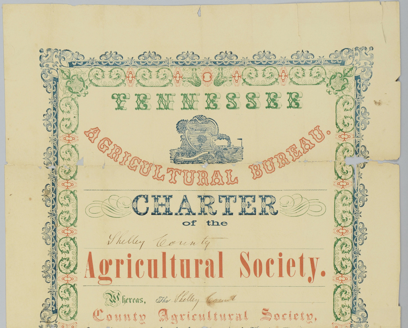 Lot 295: TN Agricultural Charter, 1855, signed by A. Johnso