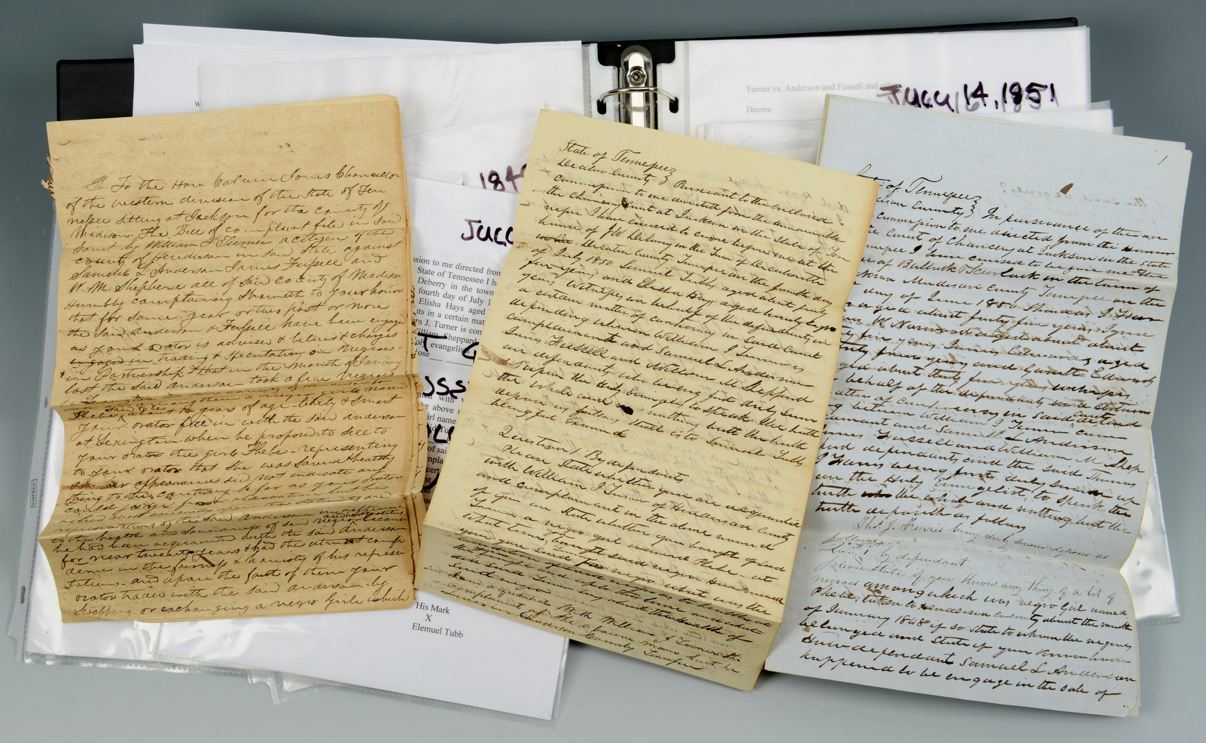 Lot 297: TN Slavery Lawsuit Archive & books