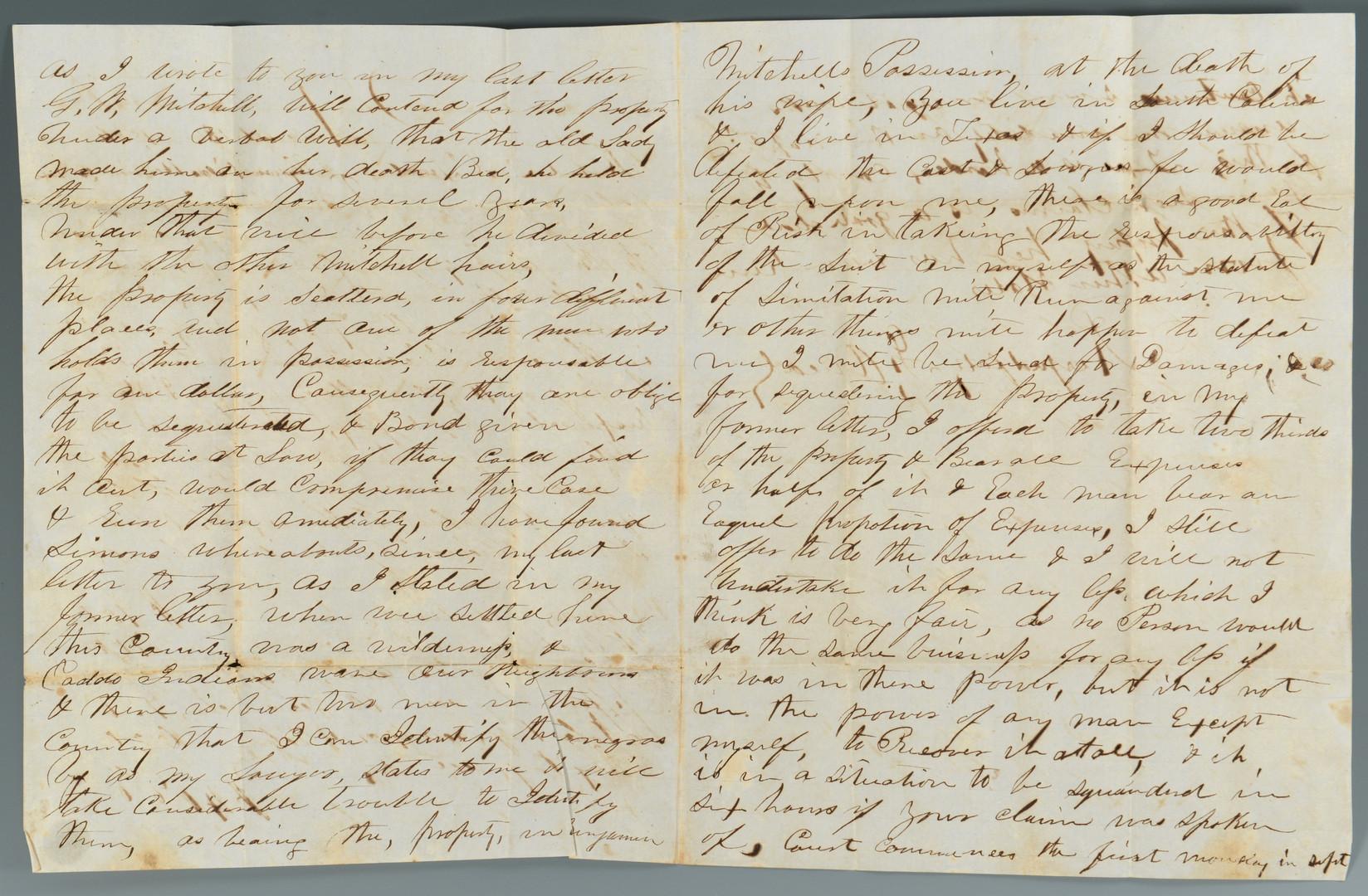 Lot 298: Texas Slave Content Letters, 1856