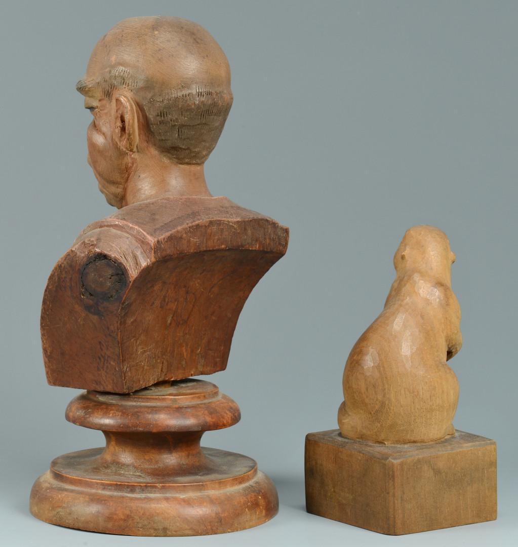 Lot 317: Folk Art Carvings inc. Bust, Gopher, Pipe