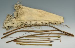 Lot 327: Plains Indian Quiver, Bows, Arrows