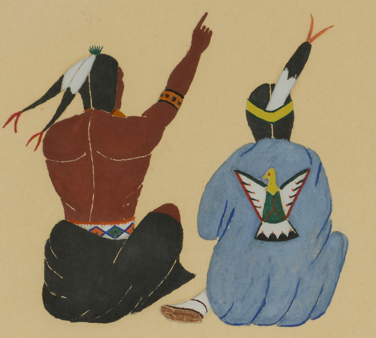 Lot 328: 2 Native American Paintings, 1931 Mopope