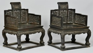 Lot 32: Pair of Chinese Hardwood Throne Form Armchairs, Modern