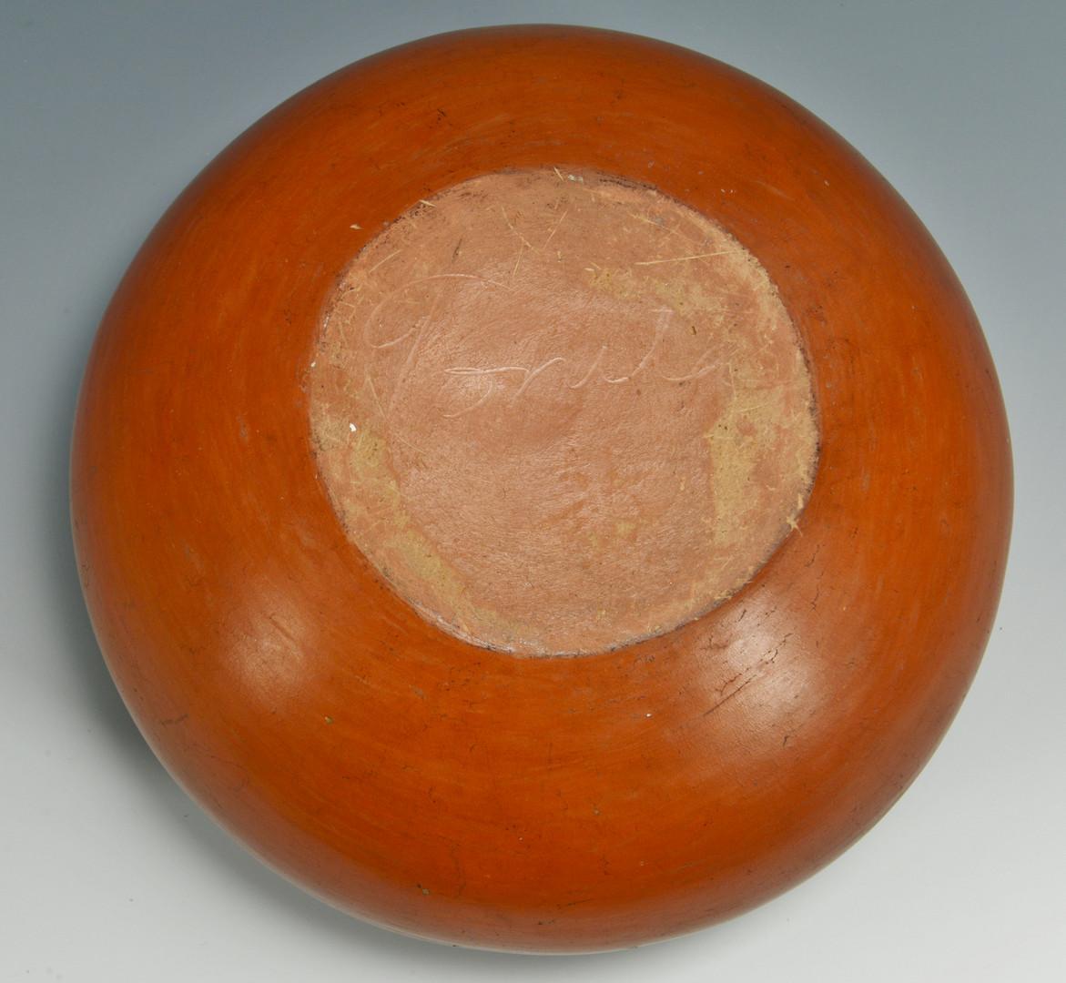 Lot 331: Tonita Roybal San Ildefonso jar with designs