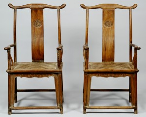 Persevering Pair Of Edwardian Chairs In Oak Jade White french Polish