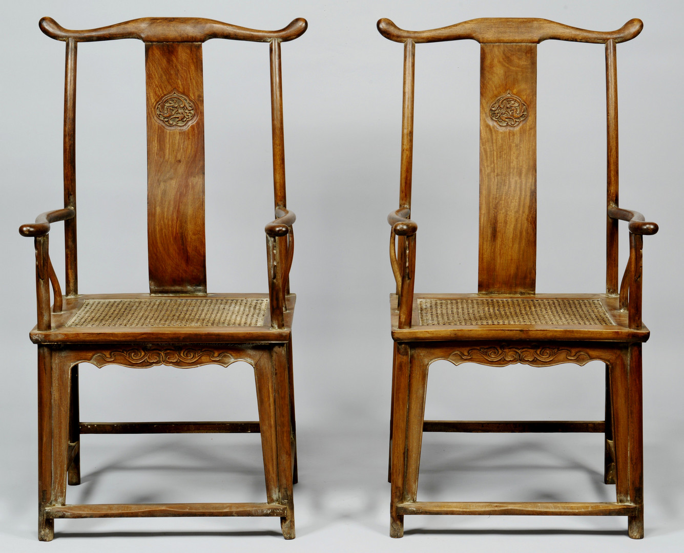 Lot 33: Pair of Chinese Hardwood Yokeback Armchairs, Modern