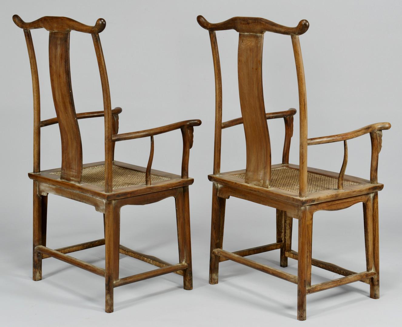 Lot 33: Pair of Chinese Hardwood Yokeback Armchairs, Modern