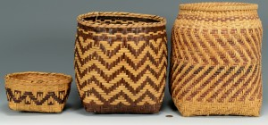 Lot 341: 3 Cherokee Rivercane Baskets