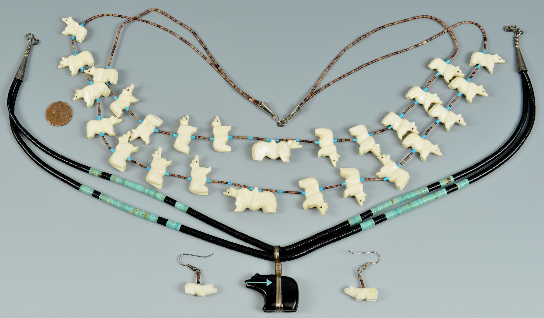 Lot 347: 2 Zuni Bear Fetish Necklaces & Earrings