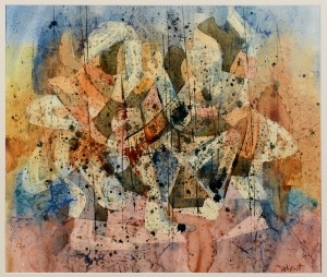 Lot 358: Ted Burnett watercolor, Two Figures