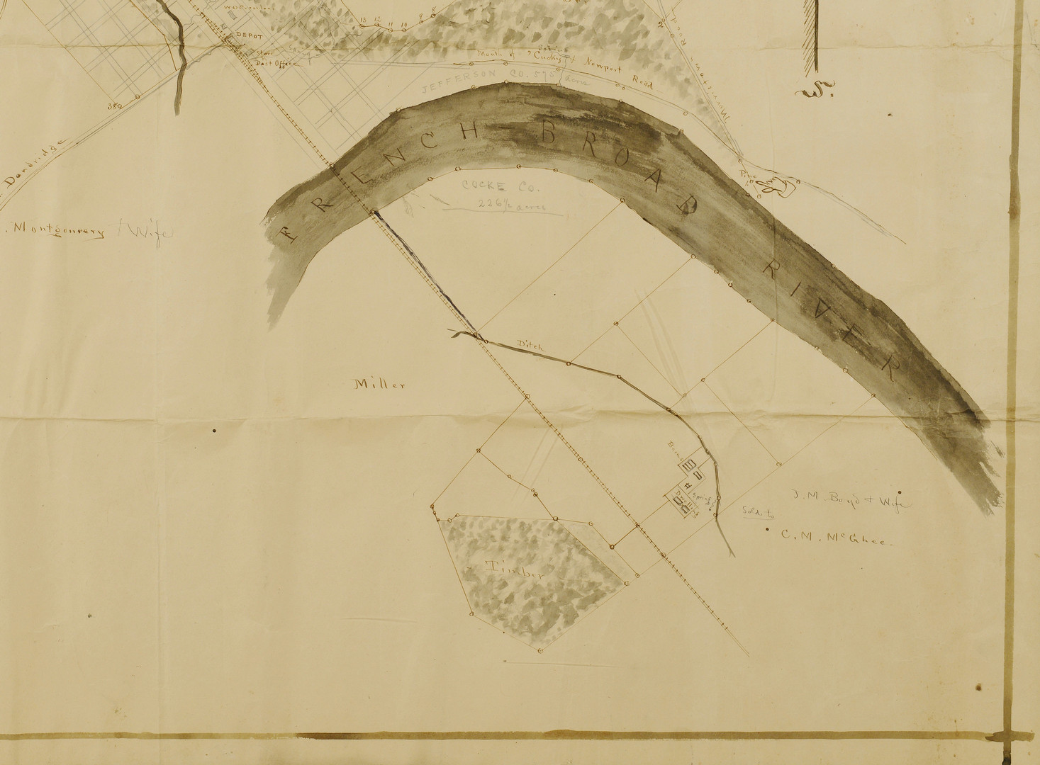 Lot 35: R. H. Armstrong Survey Drawing, Jefferson Co., TN