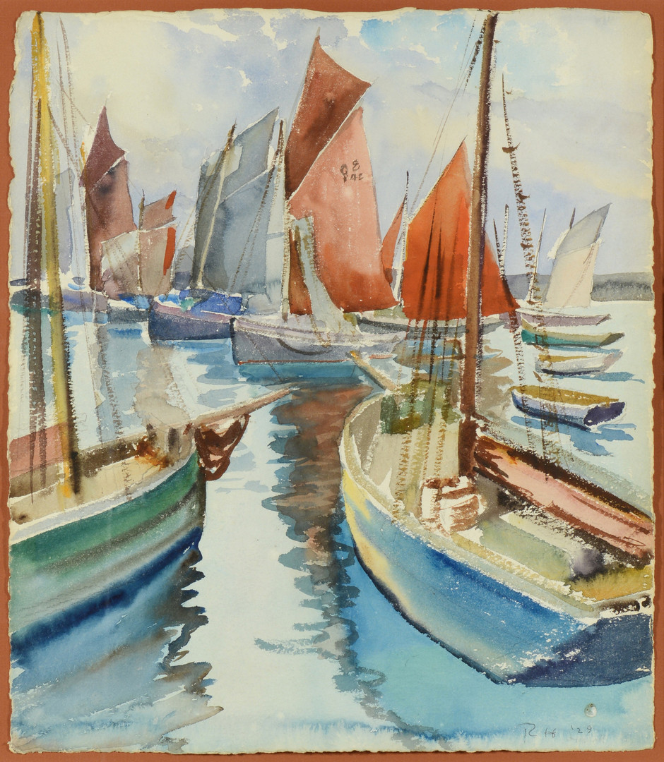 Lot 360: 2 Watercolors, Grooms & Hallowell