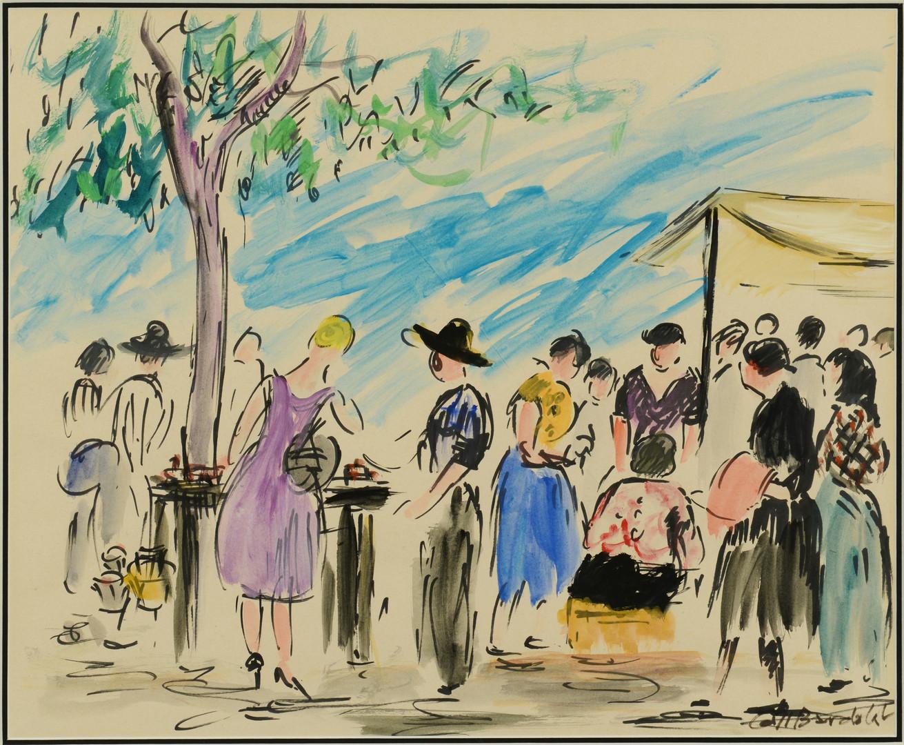 Lot 366: Bardolet Street Scene Watercolor