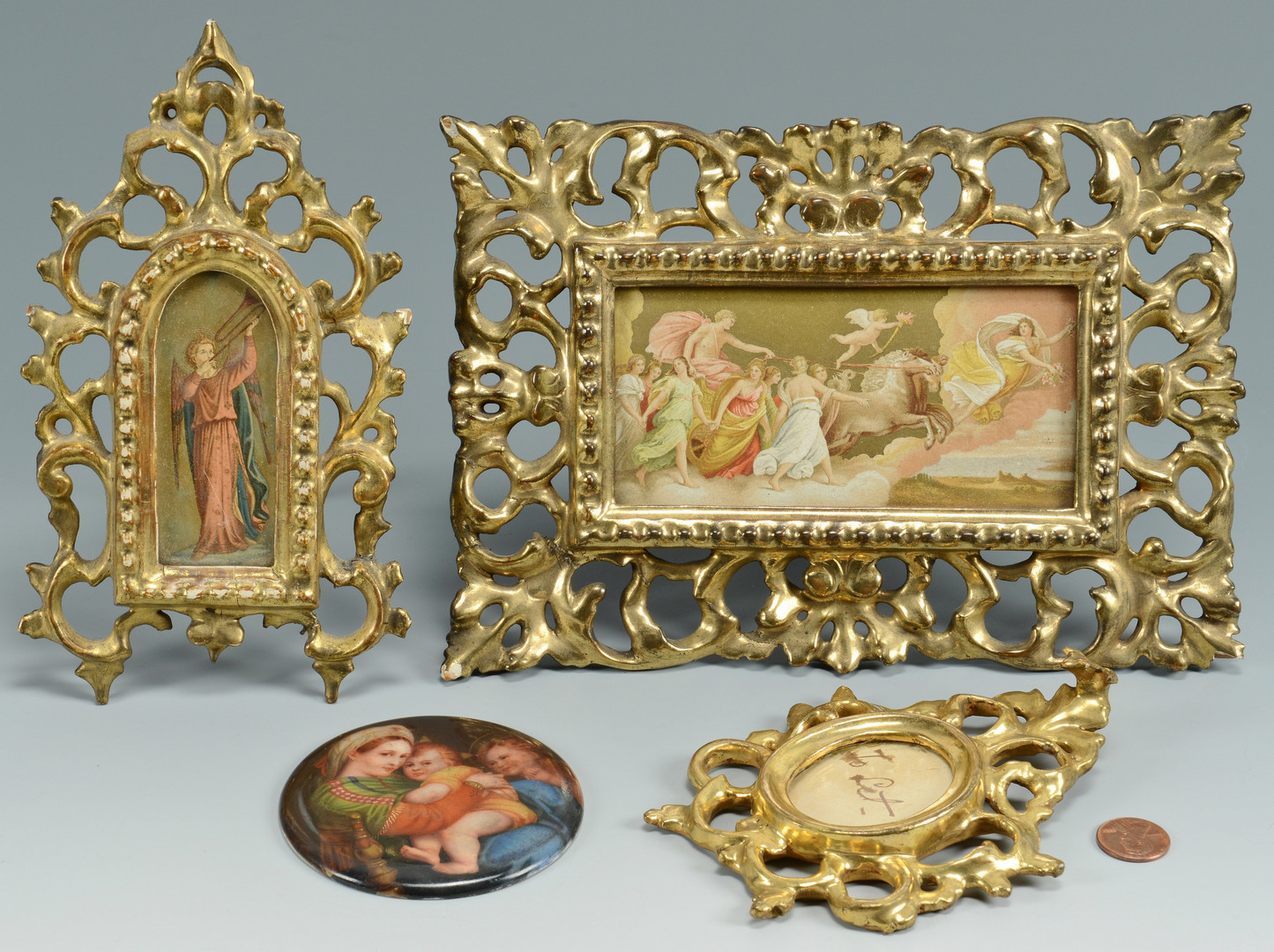 Lot 375: Italian Miniature Frames & Portrait